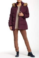 Tommy Hilfiger Down Jacket With Faux Fur Trim Red