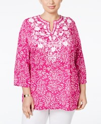 Charter Club Plus Size Floral Print Embroidered Tunic Only At Macy's Spanish Rose Combo