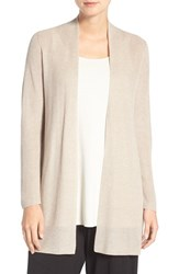 Eileen Fisher Petite Women's Rib Knit Straight Open Front Cardigan Maple Oat
