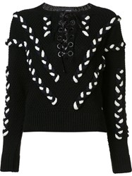Yigal Azrouel Lace Up Cable Jumper Black