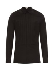 Balenciaga Pleated Front Double Cuff Cotton Dinner Shirt Black