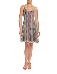 Design Lab Lord And Taylor Crochet Overlay A Line Dress Tan Multi