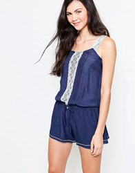 Jasmine Romper With Lace Trim Blue Dress