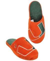 Forever Collectibles Men's Miami Hurricanes Big Logo Slippers Green Orange
