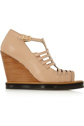 Purified Britta Leather Wedge Sandals Nude
