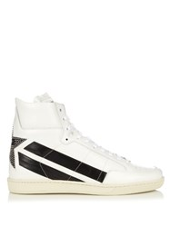 Saint Laurent Star Panelled High Top Leather Trainers White Multi