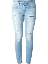 Dondup Skinny Jeans With Distressed Effects Blue