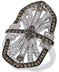 Le Vian Chocolatier Chocolate Deco Chocolate And White Diamond Deco Ring 9 10 Ct. T.W. In 14K White Gold
