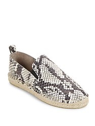 Vince Robin Snake Embossed Leather Espadrilles Black White
