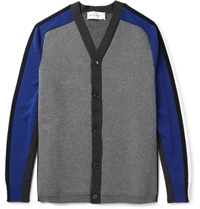 Marni Panelled Bonded Wool Blend Cardigan Blue