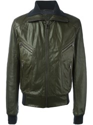 Dolce And Gabbana Leather Jacket Green