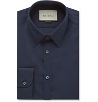Gucci Navy Cotton Poplin Shirt Blue
