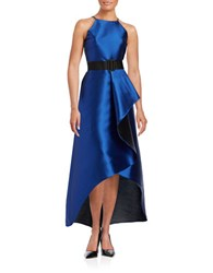 Badgley Mischka Belted Sleeveless Draped Taffeta Hi Lo Gown Royal Blue