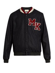 Maison Kitsune Logo Applique Wool Blend Teddy Jacket Navy