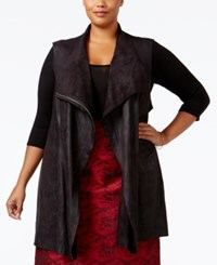 Calvin Klein Plus Size Distressed Faux Leather Vest Black