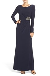 Vince Camuto Women's Beaded Waist Jersey Gown