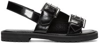 Opening Ceremony Black Leather Monk Strap Sandals