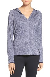 Under Armour Women's 'Tech Twist' Split Neck Hoodie Faded Ink Navy Silver