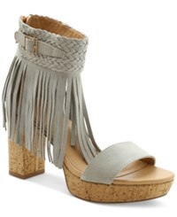 Nanette By Nanette Lepore Vanessa Fringed Platform Sandals Women's Shoes Light Gray