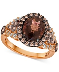 Le Vian Chocolate Quartz 2 3 4 C.T. T.W. And White Sapphire 1 3 C.T. T.W. Ring In 14K Strawberry Rose Gold. Brown