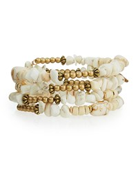 Emily And Ashley Greenbeads By Emily And Ashley Beaded Stone Wire Wrap Bracelet White Turquoise