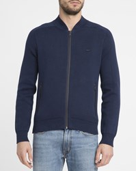 Lacoste Navy And Blue Sealed Seams Double Face Cotton Bomber Jacket