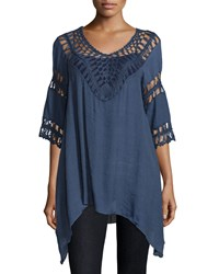 Liquid By Sioni 3 4 Sleeve Crochet Trim Sharkbite Hem Tunic Navy