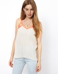By Zoe By Zoe Camisole Top With Contrast Neon Trim Offwhite