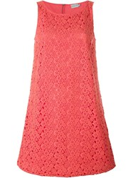 Moncler Floral Lace Shift Dress Pink And Purple