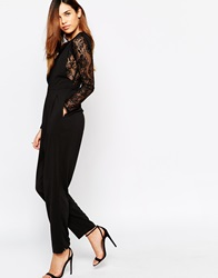 Arrogant Cat Lace Layered Jumpsuit Black