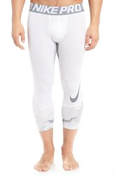 Nike Men's Hypercool Dri Fit Three Quarter Training Tights White Cool Grey