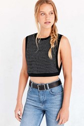 Bdg Super Stripe Cropped Top Black And White