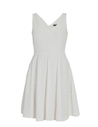Morgan Baby Doll Style Dress With Buttoned Back Off White