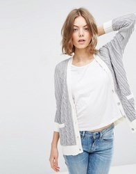 Asos Cable Cardigan With Contrast Trim Mid Grey