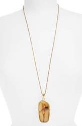 Bp Oversize Stone Pendant Necklace Natural Gold