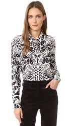 Holly Fulton Print Silk Shirt Black White