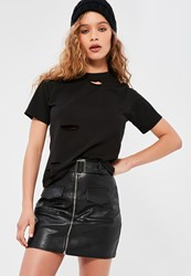 Missguided Petite Black Ripped Boyfriend T Shirt