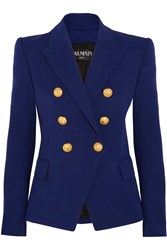 Balmain Double Breasted Stretch Cotton Blend Blazer Blue