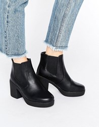 Truffle Collection Chunky Heeled Chelsea Boots Black Pu
