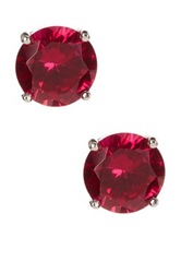 Sterling Silver Round Created Ruby Stud Earrings Pink