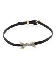 Alexis Bittar Leather And Crystal Encrusted Origami Bow Choker Bracelet Black