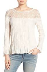 Hinge Women's Embroidered Yoke Crinkle Top Ivory Antique