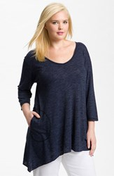Plus Size Women's Allen Allen Slub Knit V Neck Tunic Lapis