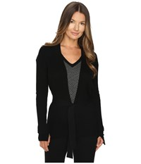 Cashmere In Love Tayla Ribbed Open Front Cardigan Black Women's Long Sleeve Pullover