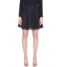 Reiss Mallory Embroidered Lace Skirt Night Navy