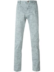 Incotex Floral Print Chino Trousers Grey