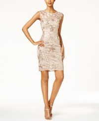 Adrianna Papell Sequined Lace Illusion Sheath Dress Antique Bronze