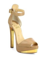 Christian Louboutin Tuctopen Leather Ankle Strap Platform Sandals Black Gold Nude Gold