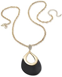 Thalia Sodi Gold Tone Jet Pave Teardrop Pendant Necklace Only At Macy's Black
