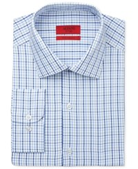 Alfani Red Men's Fitted Performance Blue Triple Check Dress Shirt Only At Macy's